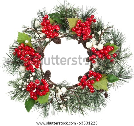 christmas wreath with red Viburnum