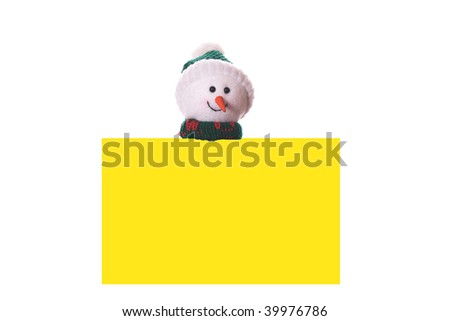 Christmas yellow card with snowman, isolated on white background