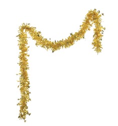 Christmas yellow tinsel with stars. Isolated on a white background.