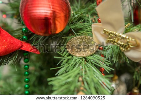 Christmass Bitcoin. Symbolic image of virtual currency. Business concept of worldwide cryptocurrency. #1264090525