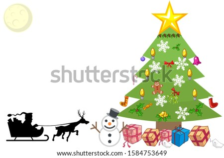 Christmast tree ilustration, with boxes of gift and Santa Claus