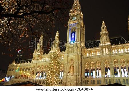 Christmastime town hall Vienna