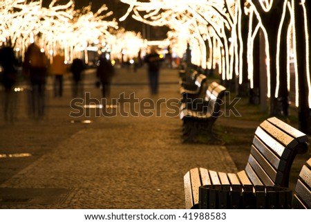 christmastime with seasonal lighting in berlin at night