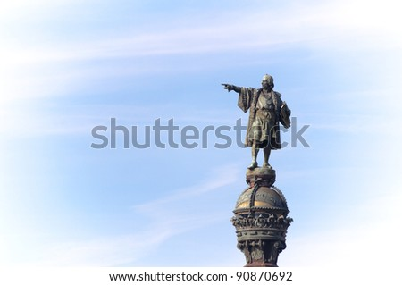 Christopher Columbus indicates the way, Barcelona, Spain