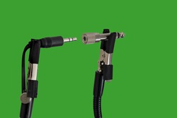 Chroma key background with male and female 3.5 to 5mm audio jack connector adaptors  for music output