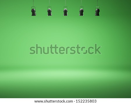 chroma key spotlight background with lamps