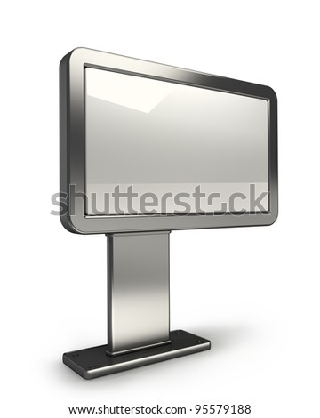 Chrome advertising billboard isolated on white background 3d