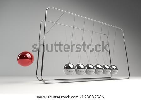Chrome balancing spheres know as Newton's Cradle (pendulum)