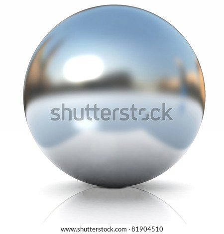 Chrome Ball 3d render - stock photo