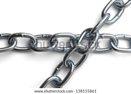 Chrome Chain Overlapping Isolated on a White Background.