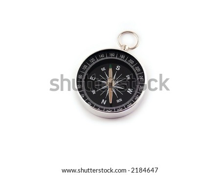 Chrome compass isolated on white background