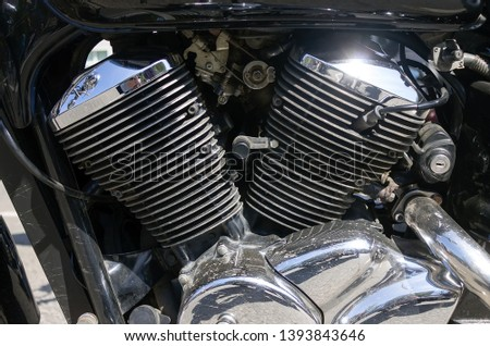 Chrome Cylinders Motorcycle Engine with Light Reflection #1393843646