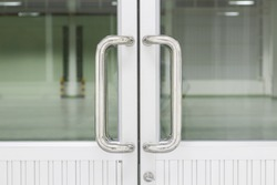 Chrome door handle is a mechanism used to open or close door, Aluminum door with glass, Aluminum alloy material light weight and higher strength for home and building decoration engineering material.