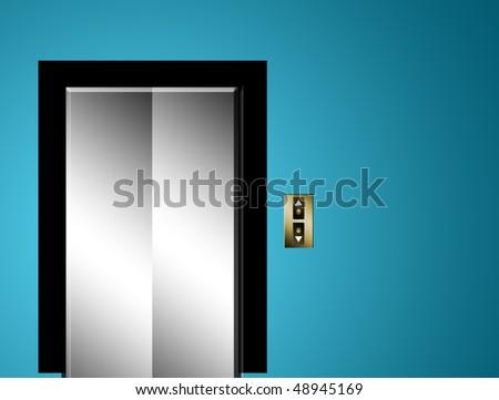 Chrome elevator door on blue wall. Illustration