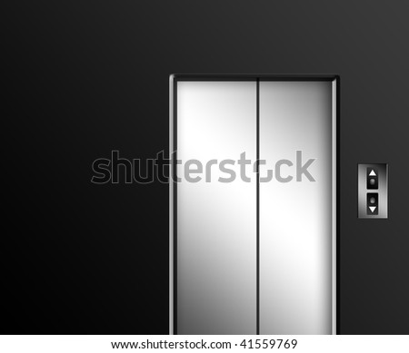 Chrome elevator door on gray wall with up and down buttons