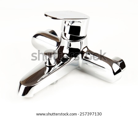 chrome faucet shower on a white background