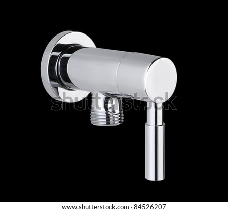 Chrome faucet with water cable screw connector isolated
