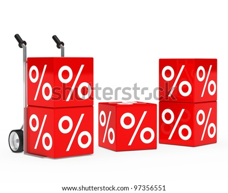 chrome hand truck with red sale cube