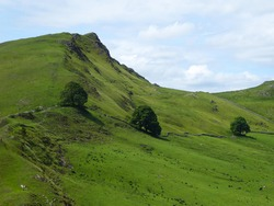 Chrome Hill and the grassy slopes below the peak - Peak District National Park, UK
