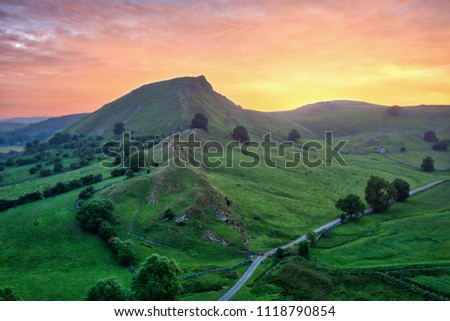 Chrome Hill seen from Parkhouse Hill in Peak District UK during Sunset