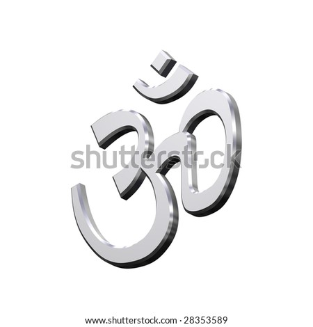 Chrome Hinduism symbol. Computer generated 3D photo rendering.