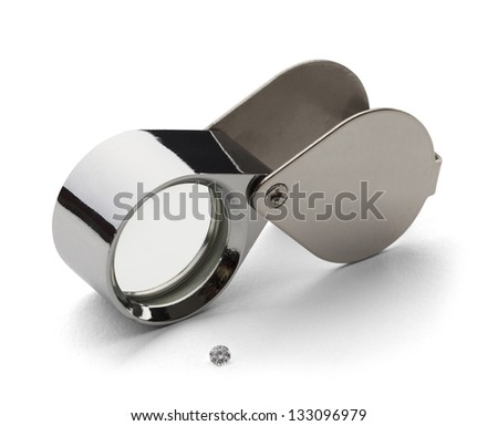 Chrome Jewelers lupe for Diamond Grading with Dimond Isolated on a White Background.