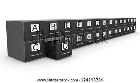 Chrome metal card index isolated on white background with D box opened