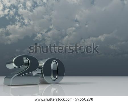 chrome number twenty - 20 - under dark cloudy sky - 3d illustration
