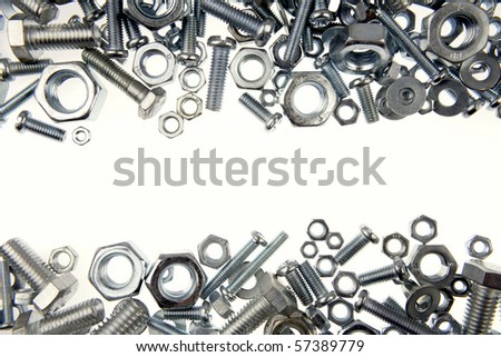 Chrome nuts and bolts close-up
