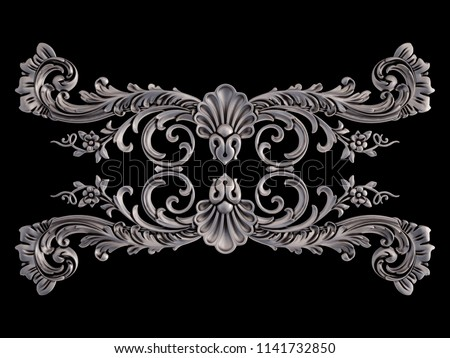 Chrome ornament on a black background. Isolated. 3D illustration