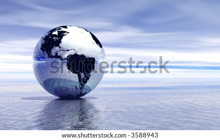 Chrome planet earth reflected on top of water