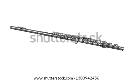Chrome plated classical musical instrument flute isolated on a white background. Music instruments series ストックフォト ©