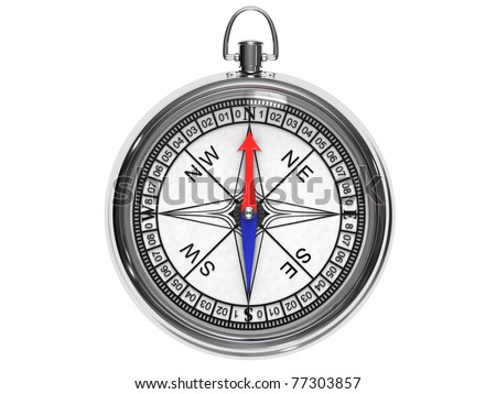 Chrome-plated compass isolated on a white background.
