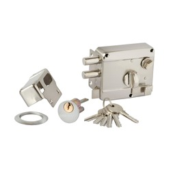 Chrome plated metal patch lock for street door with automatic latch and lock, escutcheon, cylinder and keys on white background