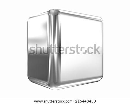 Chrome shine cube on white