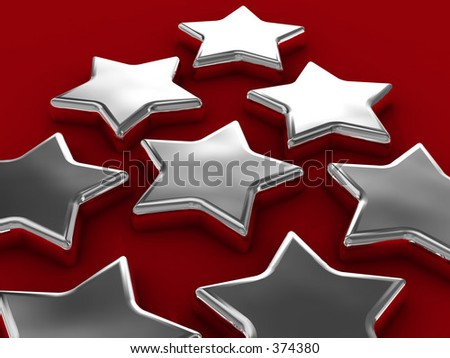 Chrome stars on red