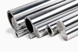 Chrome steel bars and pipes isolated /Chrome steel products isolated/Chrome steel pipes and bars isolated