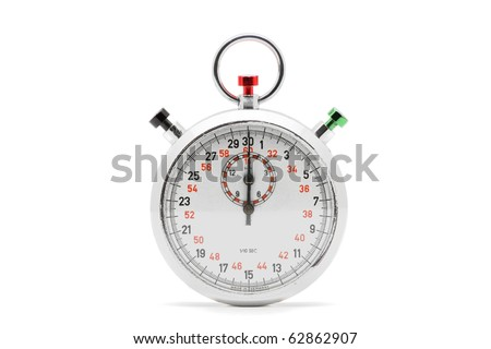 Chrome stopwatch at start position over white background