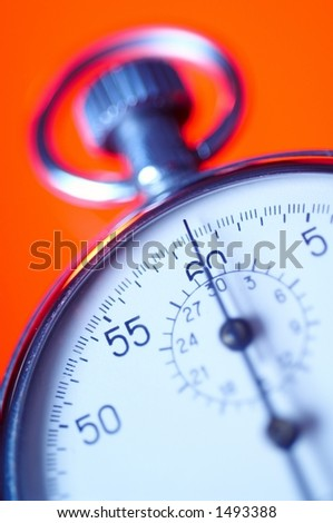Chrome stopwatch, second hand point to 0 seconds.