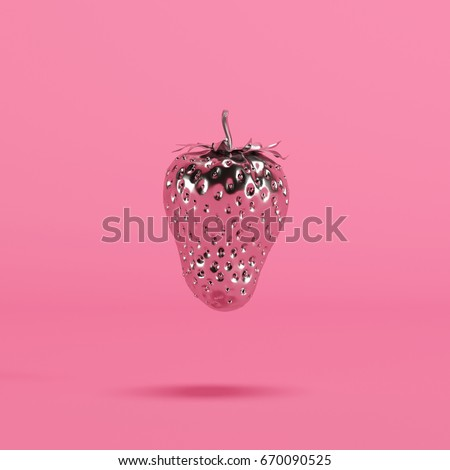 Chrome  Strawberry on pink background. minimal idea food concept.