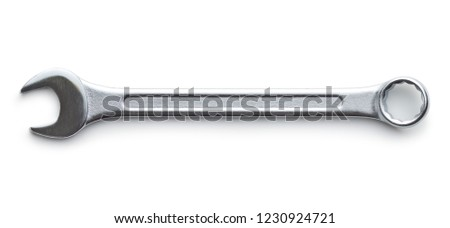 Chrome vanadium wrench. Industrial spanner isolated on white background.