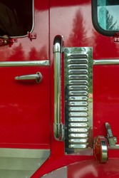 Chrome Vents on the Side of a Red Fire Truck