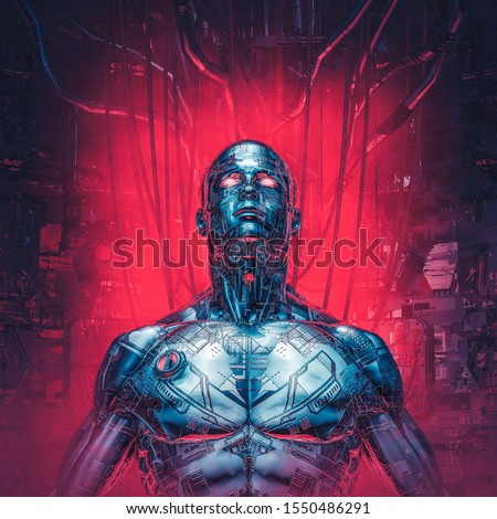 Chrome visions reloaded / 3D illustration of futuristic metallic science fiction male humanoid cyborg inside computer core