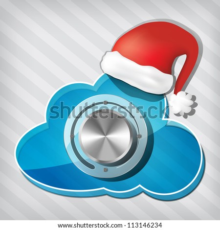 Chrome volume knob on transparency cloud with santa claus hat on a stripped background