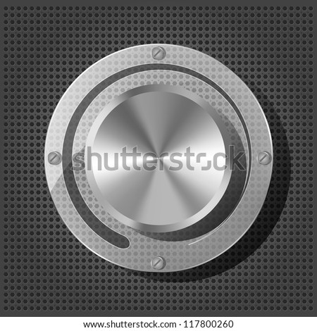 Chrome volume knob with transparency plate on the metallic background - stock photo