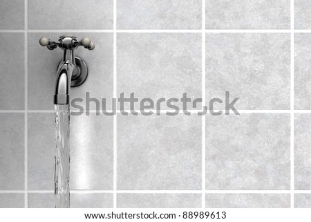 Chrome Water tap on tiles