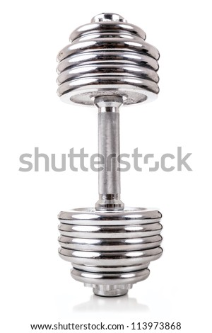 Chromed dumbbell weight over white background
