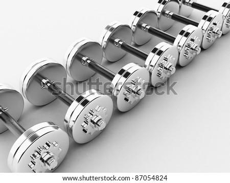 Chromed fitness exercise equipment dumbbell weight