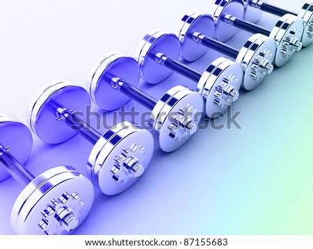 Chromed fitness exercise equipment dumbbell weight - stock photo