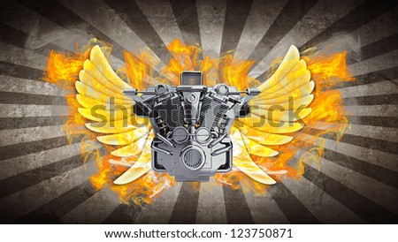 chromed motorcycle engine with wings in Fire. high resolution 3d image